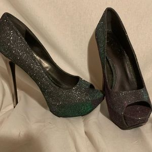 Purple/Green Chrome Glitter Heels